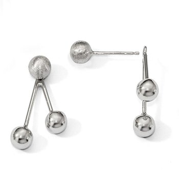 Leslie's Sterling Silver Polished Brushed Front and Back Earrings