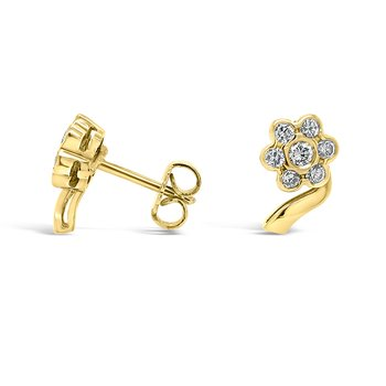 18K Yellow Gold Diamond Floral Earrings