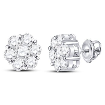 14kt White Gold Womens Round Diamond Flower Cluster Earrings 2-1/2 Cttw