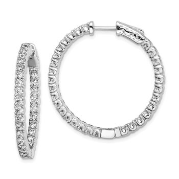 Sterling Silver Rhodium-plated In and Out Hinged Hoop Earrings