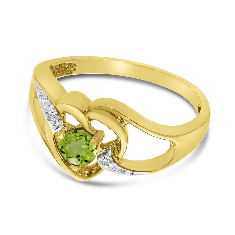 Color Merchants 10k Yellow Gold Round Peridot And Diamond Heart Ring