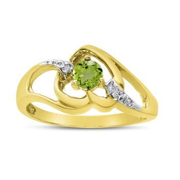 10k Yellow Gold Round Peridot And Diamond Heart Ring