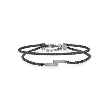 Black Chain & Cable Intermix Bracelet with 14kt White Gold & Diamonds