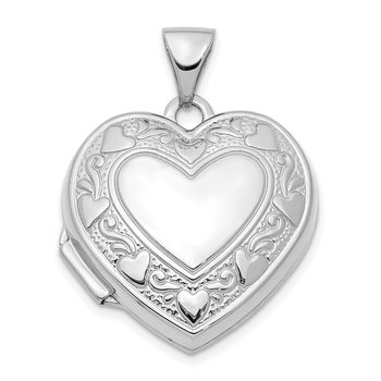14K White Gold 19mm Heart Locket Pendant