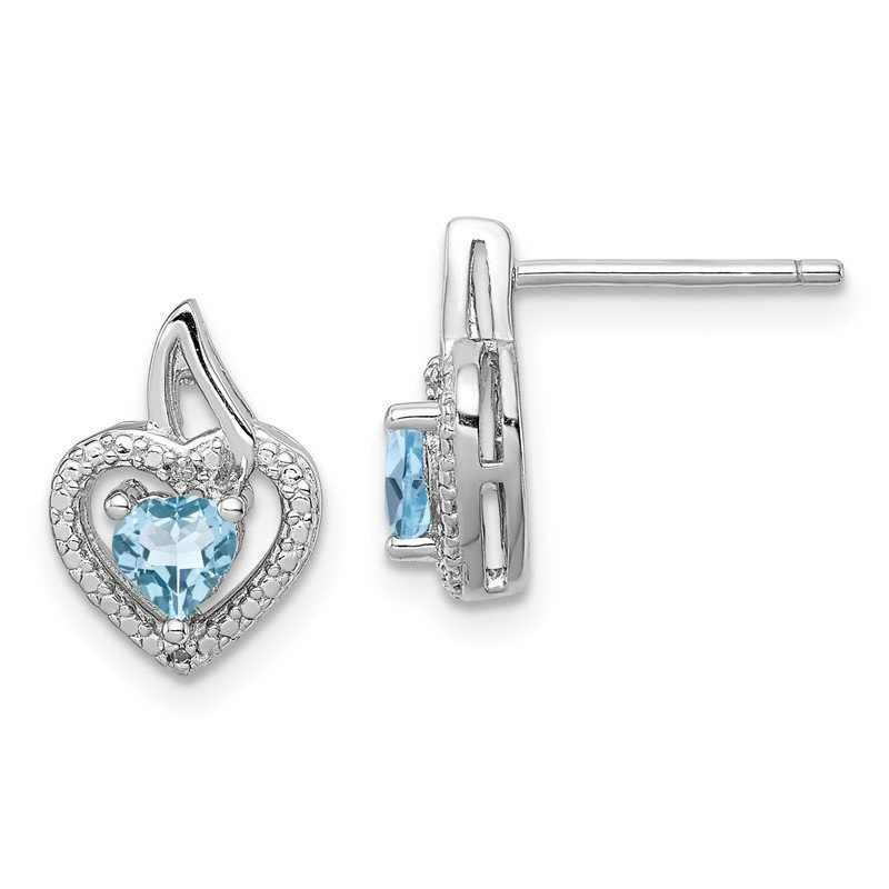 Fine Jewelry by JBD Sterling Silver Rhodium-plated Light Swiss Blue Topaz Diamond Earrings