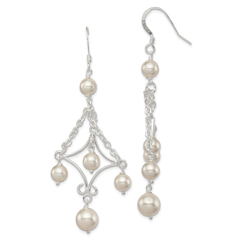 Quality Gold Sterling Silver FW Cultured Pearl Dangle Earrings