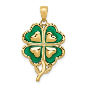 14K 4-Leaf Clover Pendant with Enameled Tips Pendant