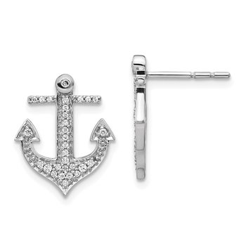 14k White Gold Diamond Anchor Earrings