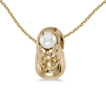 14k Yellow Gold Freshwater Cultured Pearl Baby Bootie Pendant
