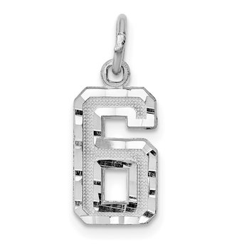 14kw Casted Small Diamond Cut Number 6 Charm