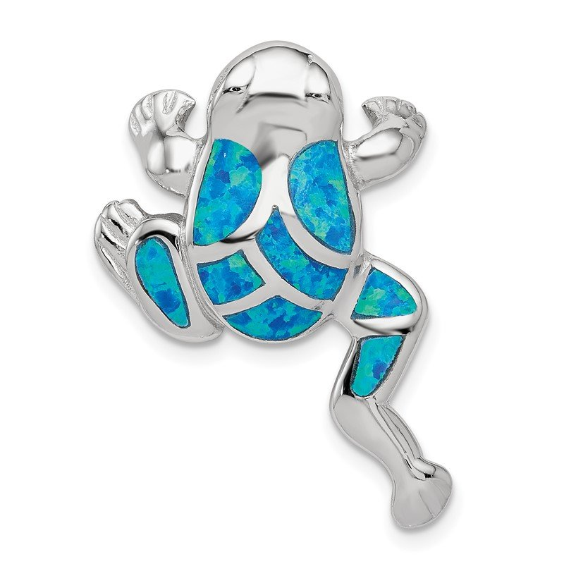 Quality Gold Sterling Silver Created Blue Opal Inlay Frog Slide Pendant