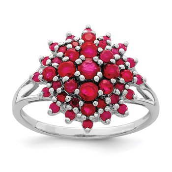 Sterling Silver Rhodium-plated Ruby Ring