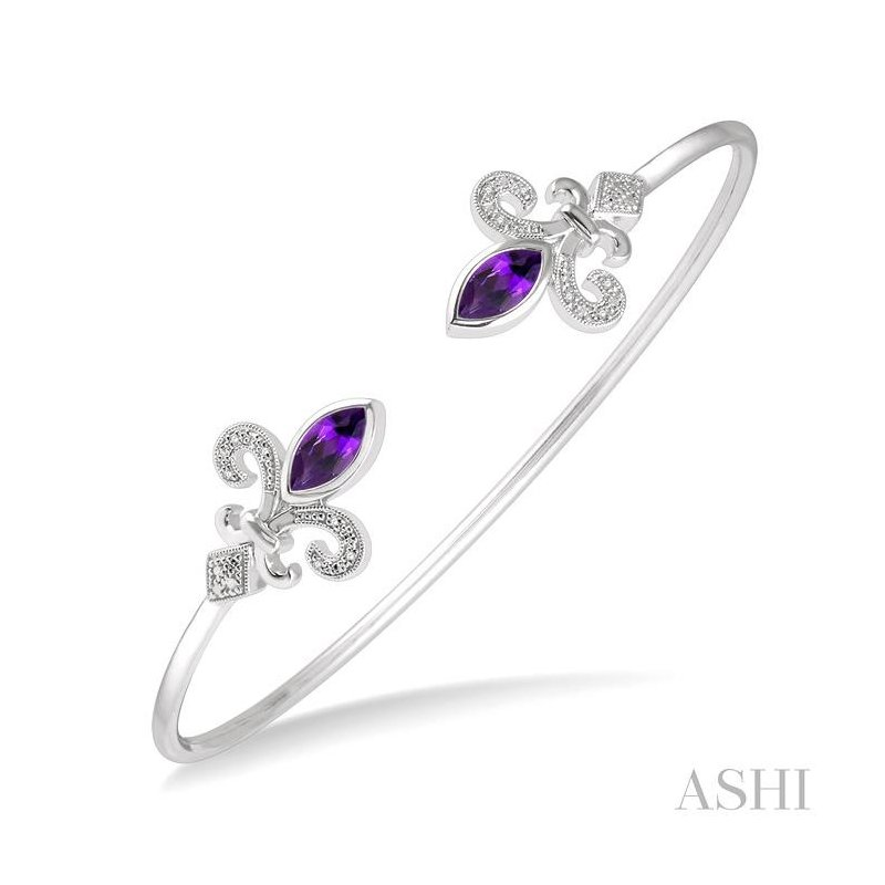ASHI diamond fleur de lis flexi bangle
