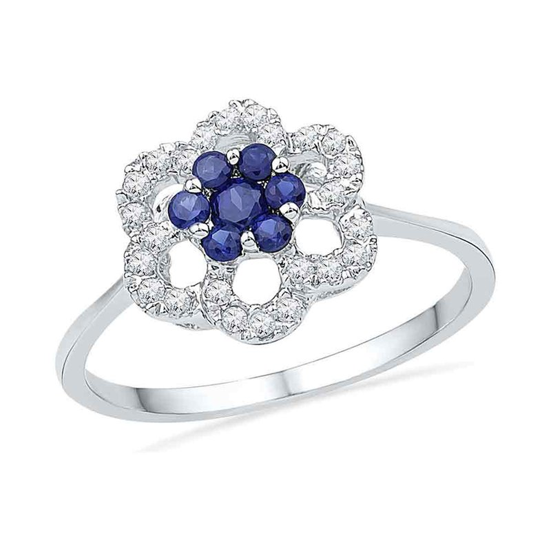 Kingdom Treasures 10kt White Gold Womens Round Lab-Created Blue Sapphire & Diamond Cluster Ring 1/8 Cttw