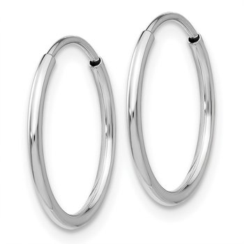 10K White Gold Endless Hoop Earrings