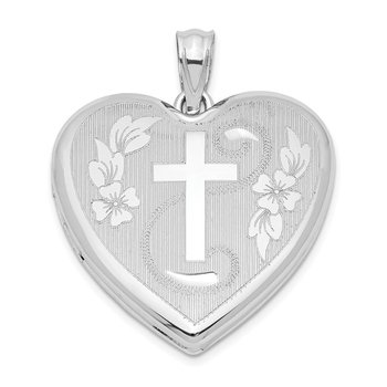 Sterling Silver Rhodium-plated 24mm D/C Cross Heart Locket
