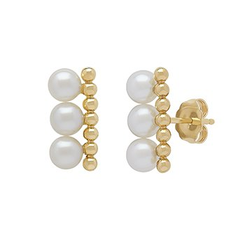 Honora 14KY 4.5-55mm White Round Freshwater Cultured Pearls Pebbled Bar Earrings