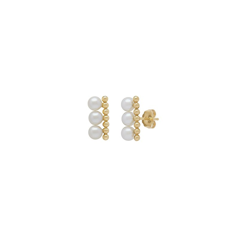 Honora Honora 14KY 4.5-55mm White Round Freshwater Cultured Pearls Pebbled Bar Earrings