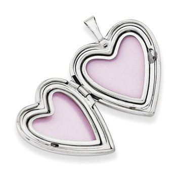 14K 20mm White Gold Enameled Breast Cancer w/ Hearts Heart Locket