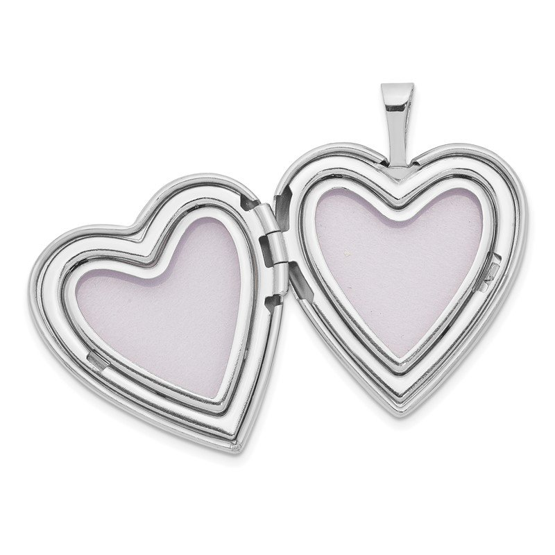 Quality Gold 14K 20mm White Gold Enameled Breast Cancer w/ Hearts Heart Locket