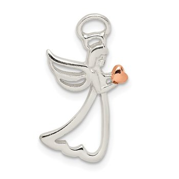 Sterling Silver & Rose Tone Polished Angel Pendant