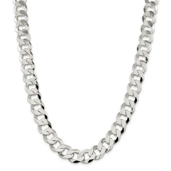 Sterling Silver 14mm Flat Curb Chain