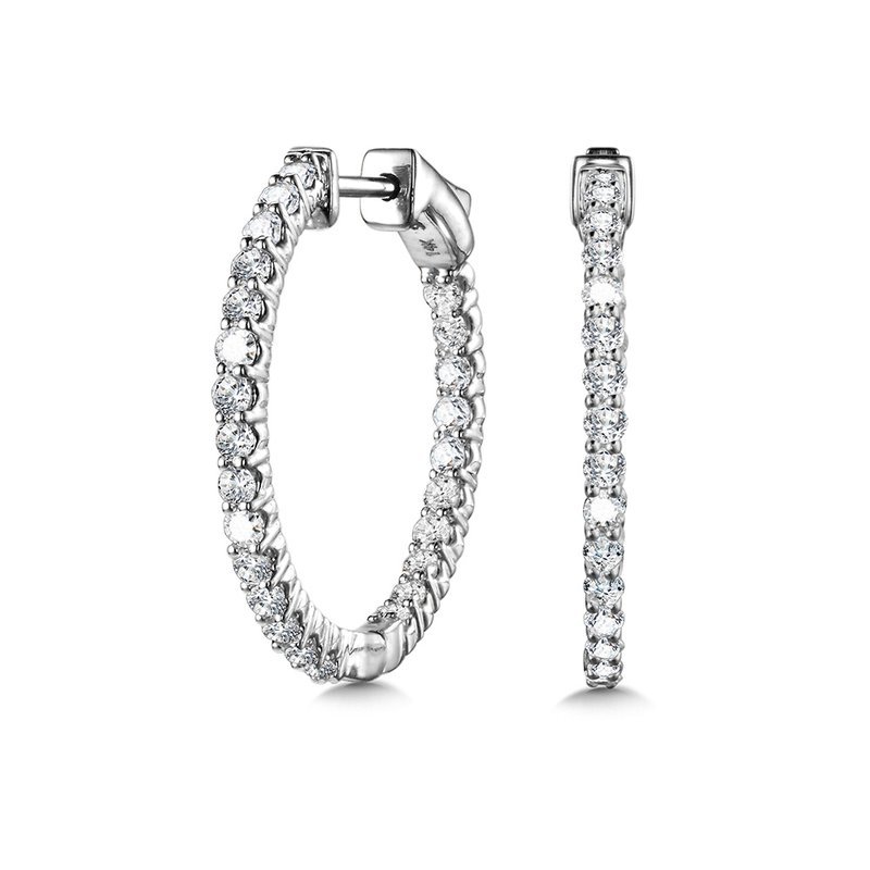 SDC Creations Bold Front-Facing Round Diamond Hoops