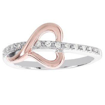 Sterling Silver and 10k Rose Gold 1/10ct TDW Diamond Accent Heart Promise Ring