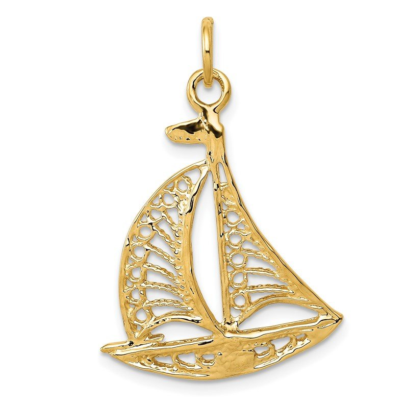 Quality Gold 14k Sailboat Charm