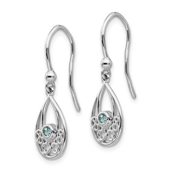 SS White Ice w/ Blue Topaz Shepherd Hook Earrings