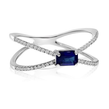 14k White Gold Sideway Set Sapphire and Diamond Ring