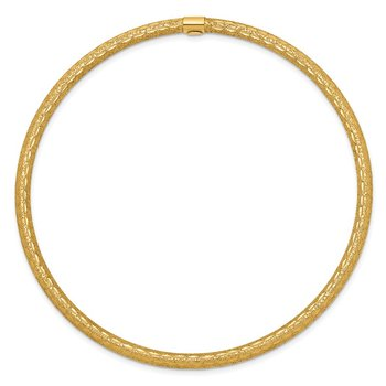 14k 3mm Satin Finish Diamon-cut Tube Slip-on Bangle