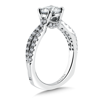 Criss Cross Engagement Ring with Side Stones in 14K White Gold (0.45 ct. tw.)