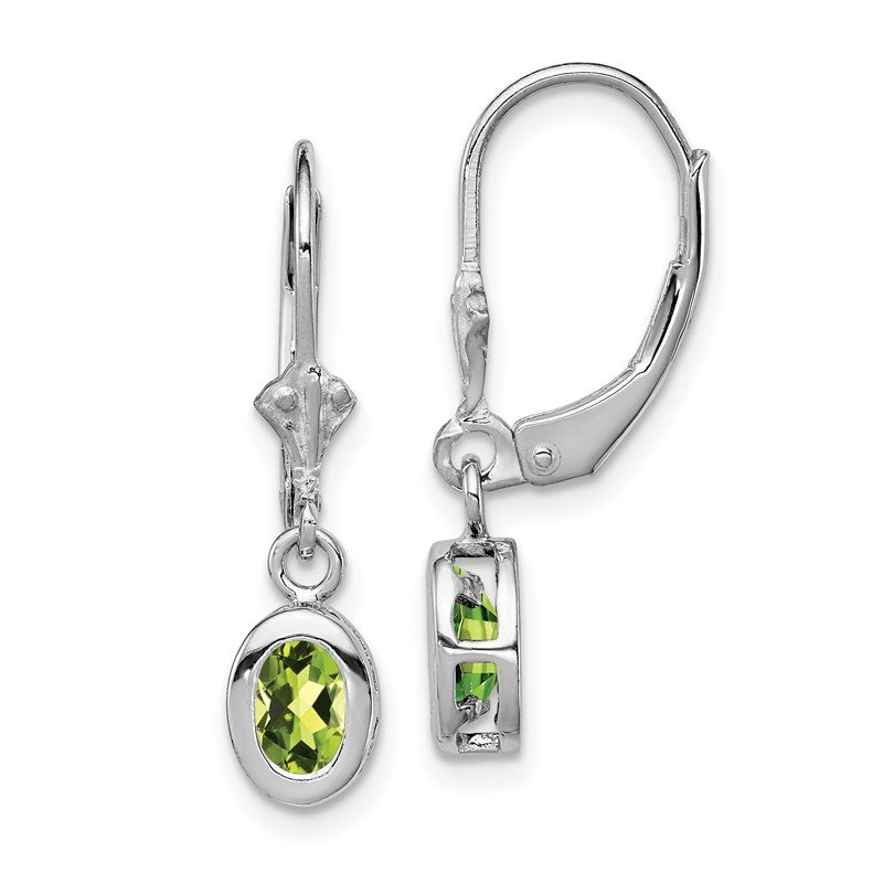 Quality Gold Sterling Silver Rhodium 6x4mm Oval Peridot Leverback Earrings