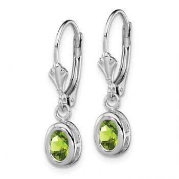 Sterling Silver Rhodium 6x4mm Oval Peridot Leverback Earrings
