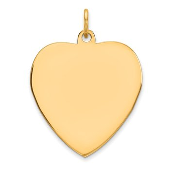 Sterling Silver GP Engraveable Heart Polished Disc Charm