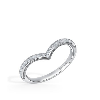 Milgrain Diamond V Wedding Band