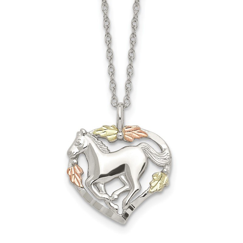 Quality Gold Sterling Silver & 12K Horse In Heart Necklace