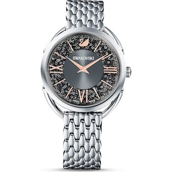 Crystalline Glam Watch, Metal bracelet, Gray, Stainless steel