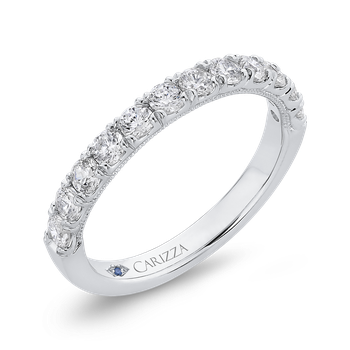 Half-Eternity Round Diamond Wedding Band In 18K White Gold