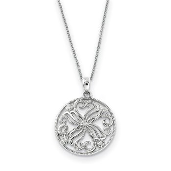Sterling Silver CZ Kindred Spirit 18in Swirls Necklace
