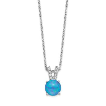 Cheryl M Sterling Silver Rhodium Plated CZ & Created Blue Opal 18.5in Neck