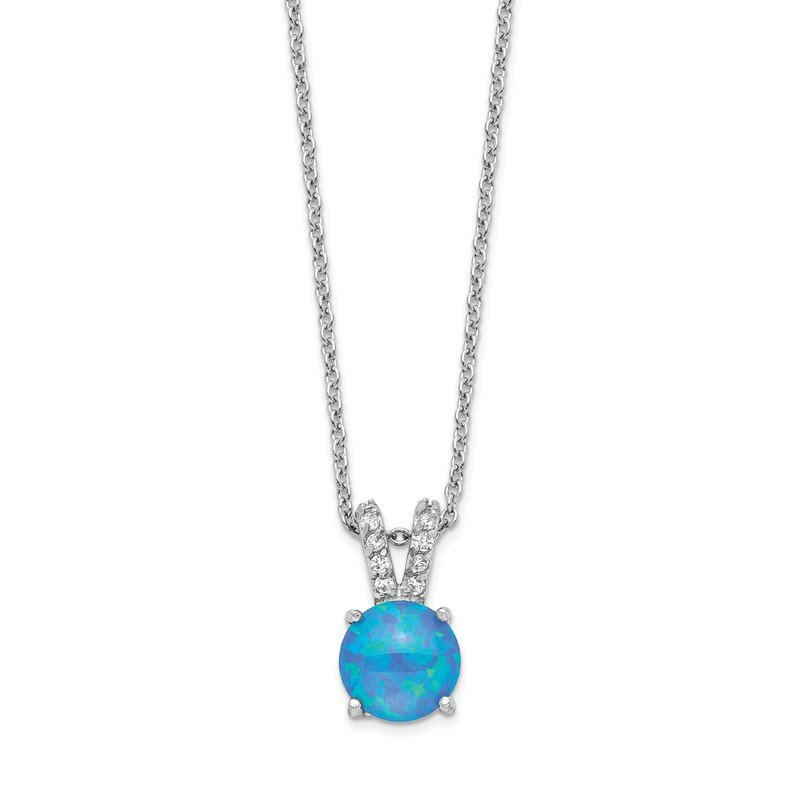 Cheryl M Cheryl M Sterling Silver Rhodium Plated CZ & Created Blue Opal 18.5in Neck