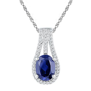 Sterling Silver Womens Oval Lab-Created Blue Sapphire Solitaire Pendant 1-3/4 Cttw