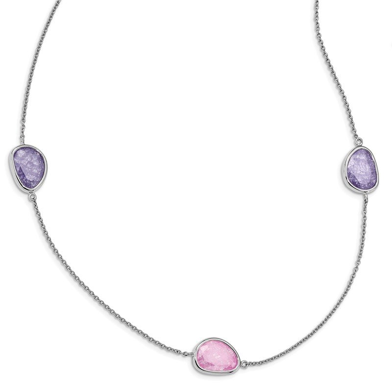 Quality Gold Sterling Silver Rhodium-plated Purple/Pink Ice CZ 9-Station Necklace