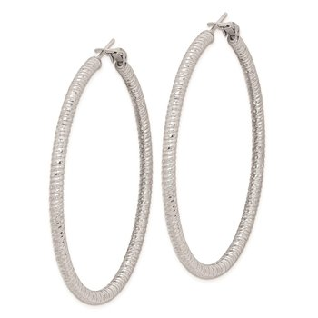 Sterling Silver Rhod-plated 3.25x60mm Omega Back Hoop Earrings
