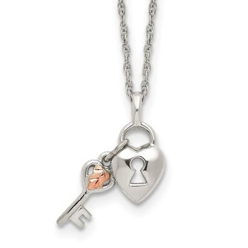 Sterling Silver & 12k Accents Heart & Key Necklace