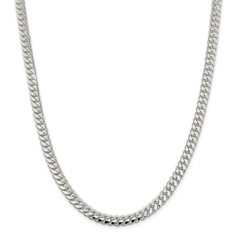Quality Gold Sterling Silver 6.4mm Polished Domed Curb Chain