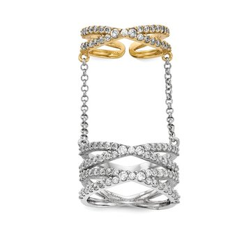 Sterling Silver Rhodium/Gold-tone CZ Double Finger Ring