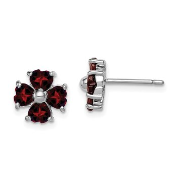 Sterling Silver Rhodium Garnet Flower Post Earrings